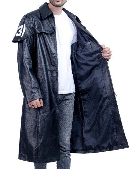 Destructive A7 Black Leather Duster Trench Coat