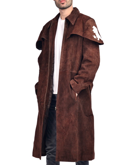 Destructive A7 Suede Leather Duster Trench Coat Brown