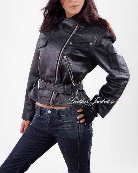 Crunch Affects Biker Leather Jacket