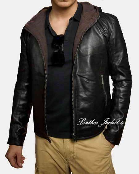Lambskin hooded leather jacket