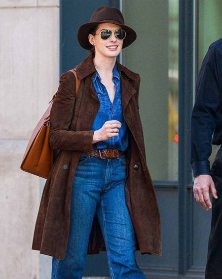 Anne Hathaway Suede Brown Leather Coat