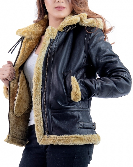 B3 RAF womens faux fur shearling leather jacket