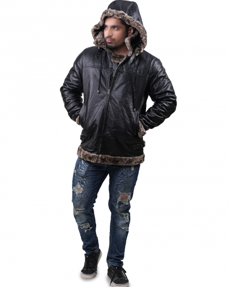 B3 Sable Faux Fur Shearling Hoodie Jacket