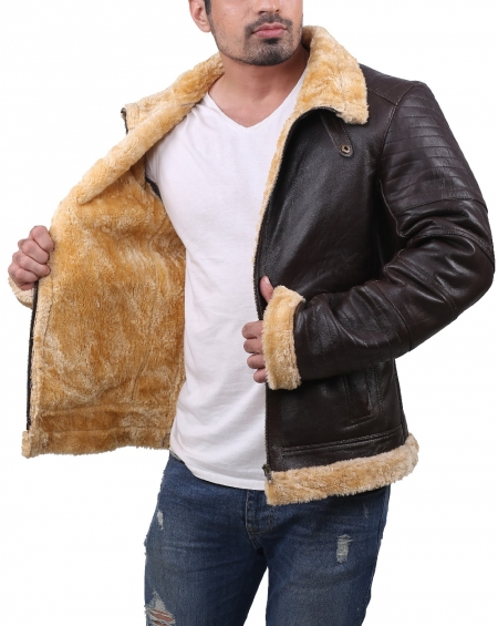RAF aviator pilot B3 bomber shearling leather jacket in brown color with faux fur lining