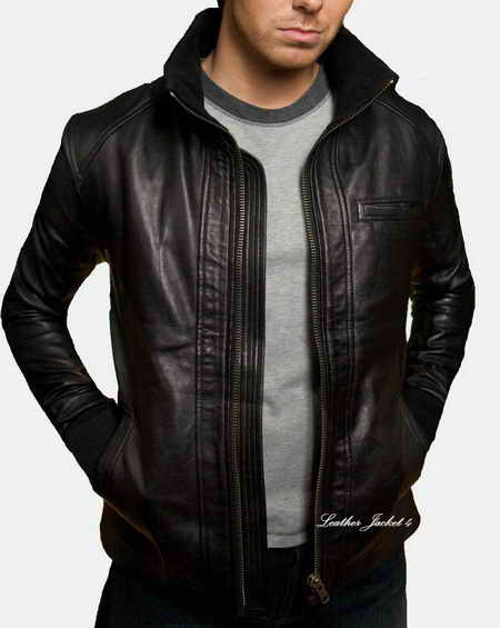 Stylish slim fit men leather jacket