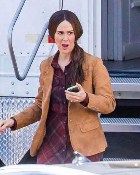 Sarah Paulson Bird Box Jessica Brown Suede Leather Blazer