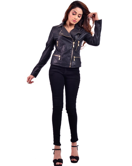 Black Belle Golden Biker Womens Jacket