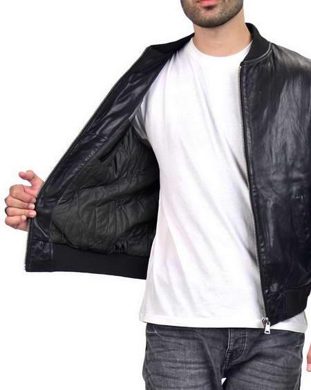 Black Bomber Mens Jacket