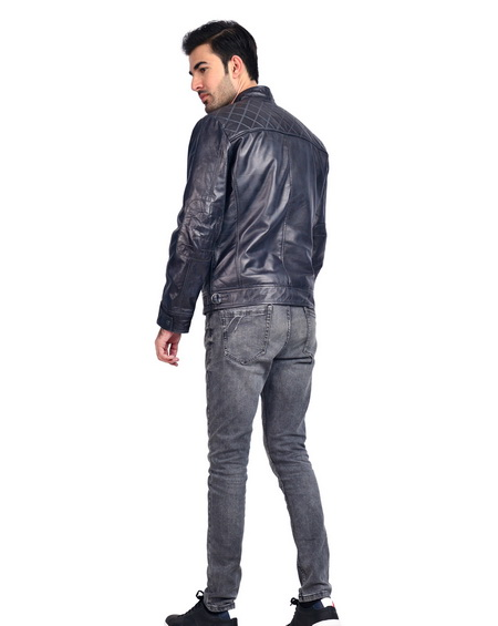 Black Cafe Racer Moto Leather Jacket