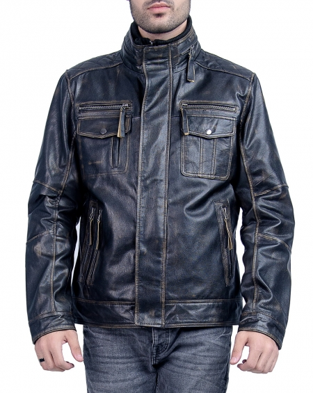 Black Racer Mens Leather Jacket