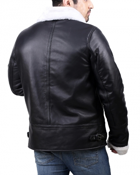 Faux Fur Mens Black Shearling Leather Jacket