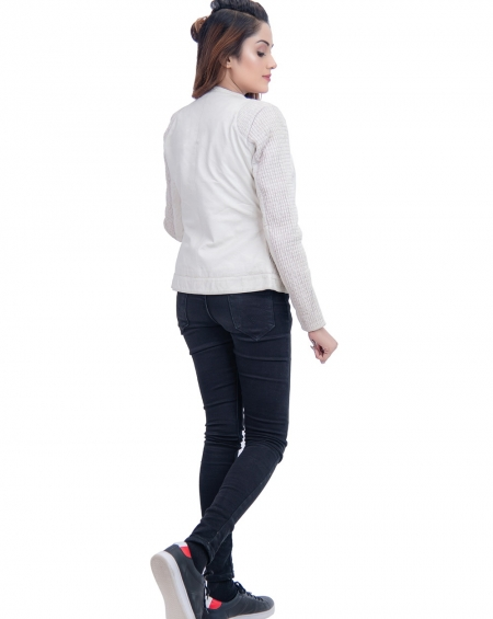 Women Leather Jacket White Blanche