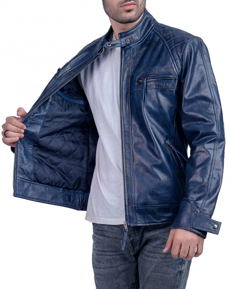 Blue Cafe Racer Biker Leather Jacket