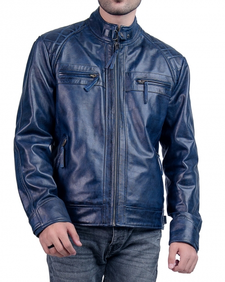 Blue Cafe Racer Biker Leather Jacket