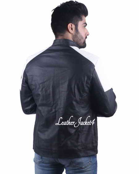 Black and white Leather Biker Jacket