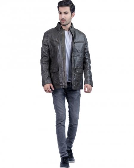 Mens Biker Khaki Leather Jacket