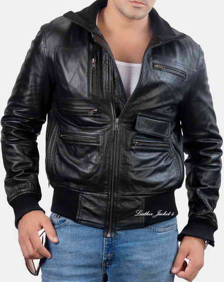Zipper Detail Leather Jacket