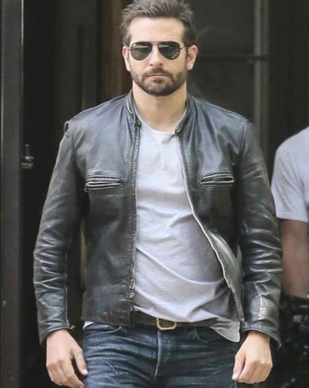 Bradley Cooper Black Leather Jacket