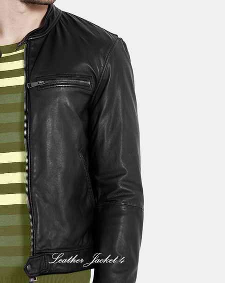 Black Soft Leather overdyed Mens Leather Jacket