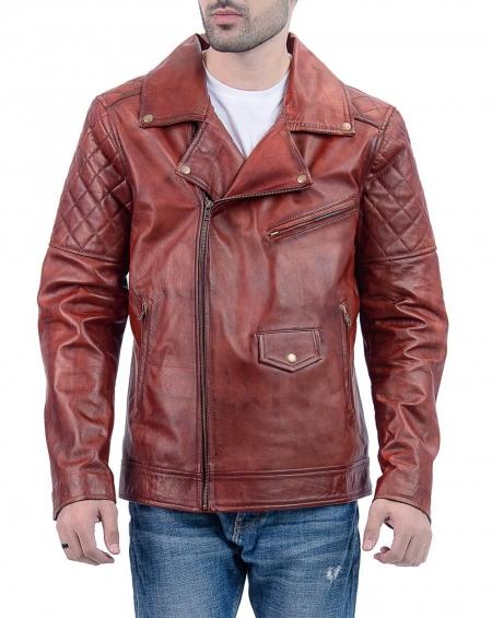 Brown Biker Leather Jackets for Mens
