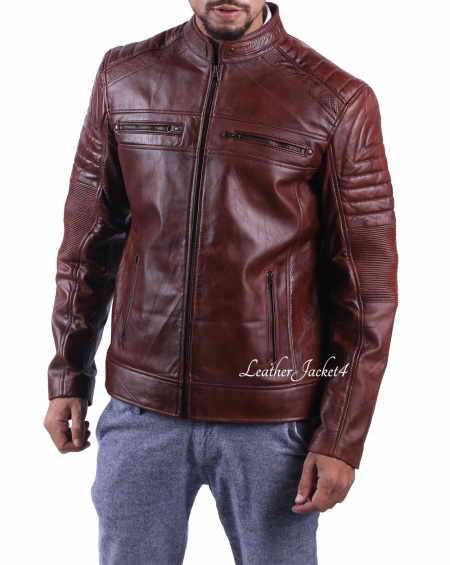 Cafe Racer Motorcycle Leather Jacket