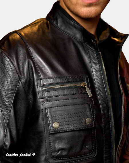 Casual mens leather Jacket with substantial pockets.