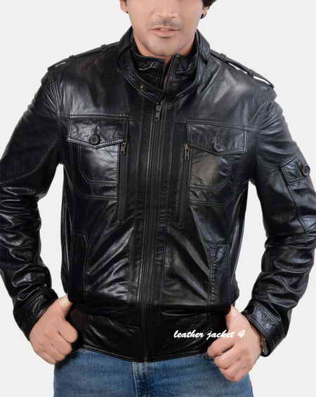 Caleb Mens Black Bomber Leather Jacket