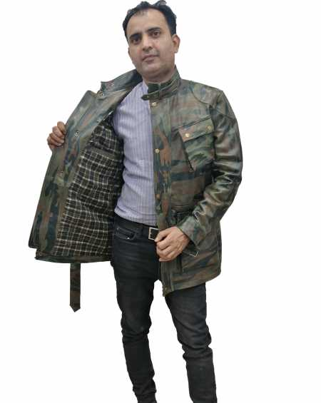 Camouflage Panther Leather Jacket