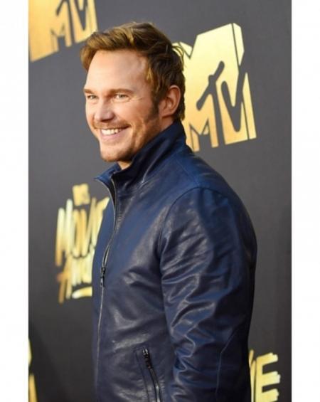 Chris Pratt Mtv Dark Blue Leather Jacket