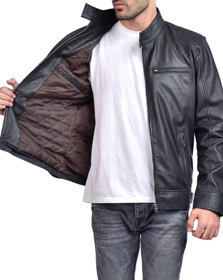 Classic Biker Leather Jacket Mens