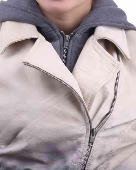 Contrast Biker Jacket with Wool Hoodie