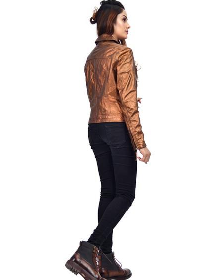Copper Metallic Womens Leather Jacket