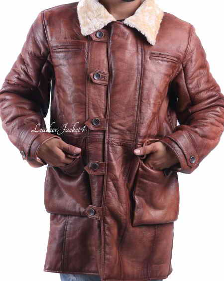 Tom Hardy Dark Knight Rises Bane Shearling Stylish Leather Trench Coat