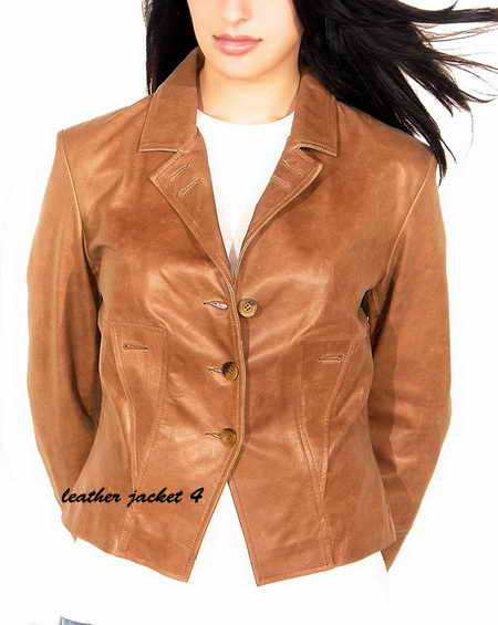 Three Button Leather Blazer
