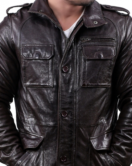 Datona Mens Brown Leather Jacket