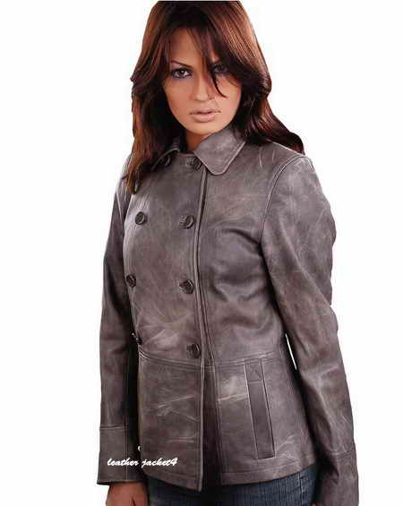 Women Double Breasted Leather Jacket
