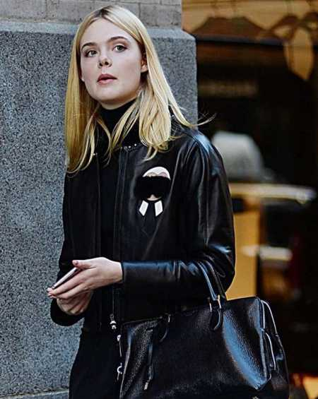 Elle Fanning Fur Black Leather Jacket