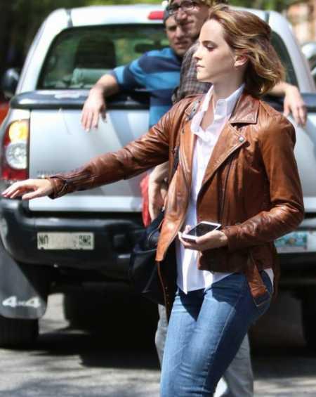 Emma Watson Brown Leather Jacket