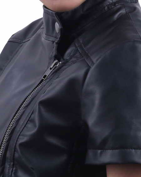 Half sleeve leather jacket