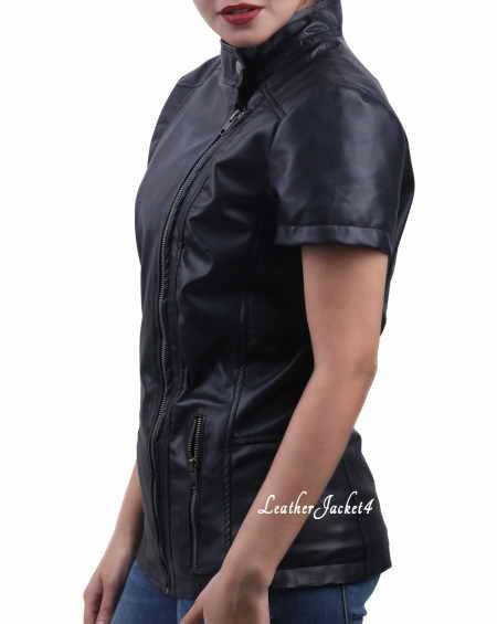 Half sleeve leather jacket