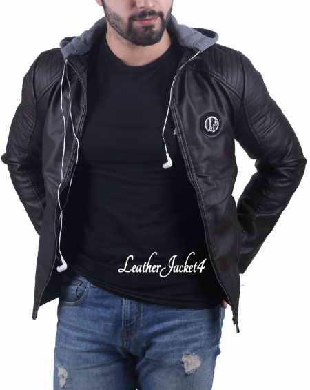Handsfree Hoodie Leather Jacket