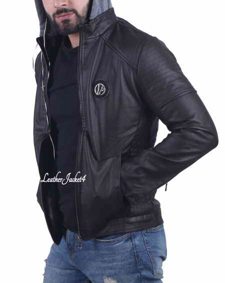 Handsfree Hoodie Leather Jacket