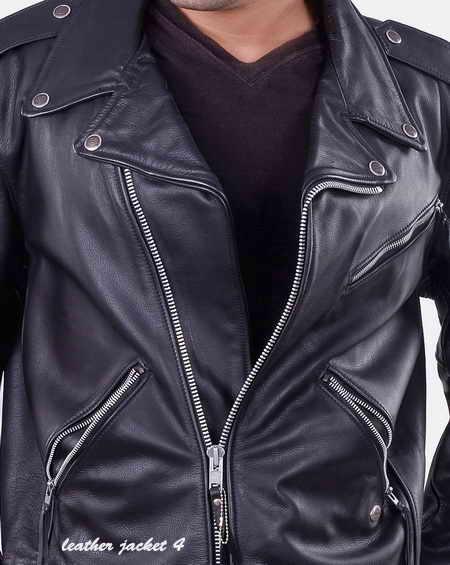 Brando style biker leather jacket