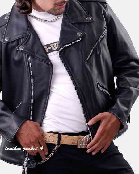 Brando style biker leather jacket