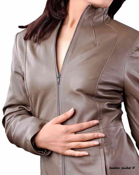 Womens long leather jacket