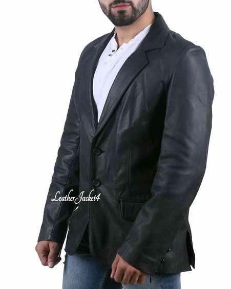 Jason Statham Black Leather Blazer