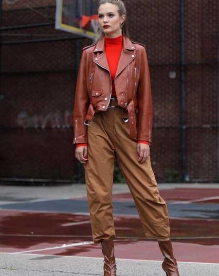 Josephine Skriver Brown Leather Jacket