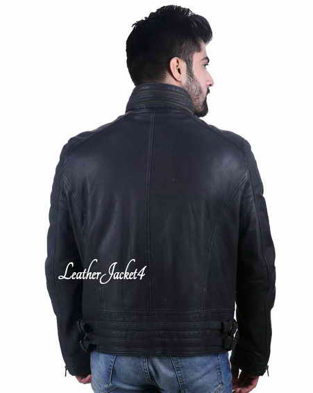 Wide neck black leather biker jacket for men