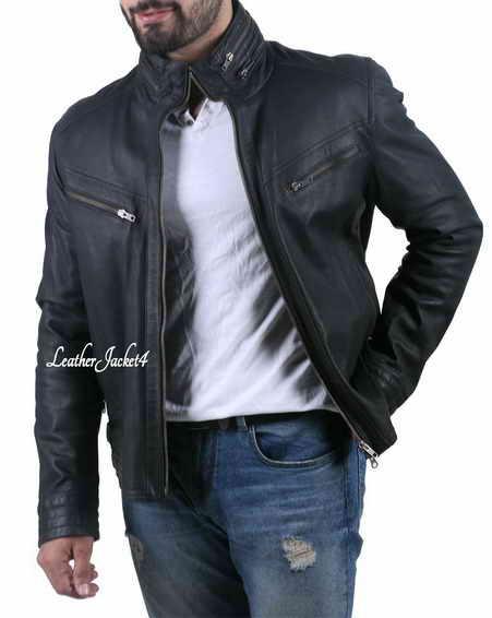 Wide neck black leather biker jacket for men