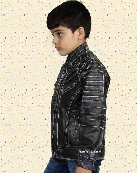 Black distressed leather jacket for boys